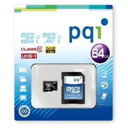 PQI Micro SDHC Memory Card 64GB UHS-I Class10
