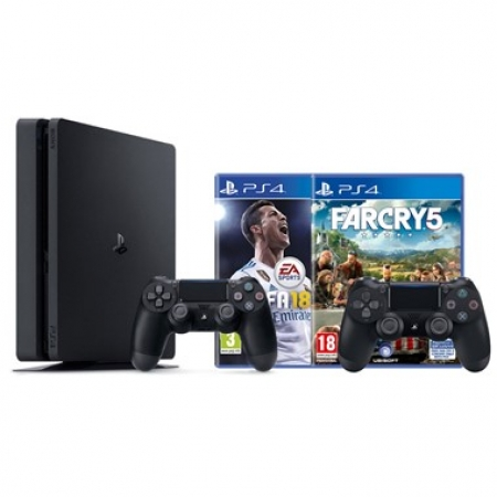 Playstation 4 1TB Slim E chassis + Fifa 18 + Dualshock 4 + Far Cry 5