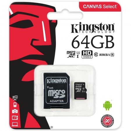 Kingston Micro SDCS Canvas Memory Card 64GB Class10