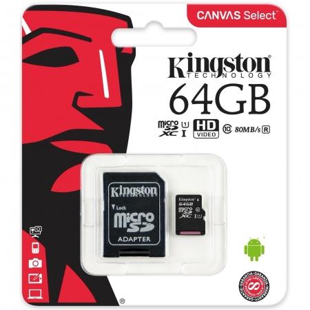 Kingston Micro SDCS Canvas Memory Card 64GB Class10