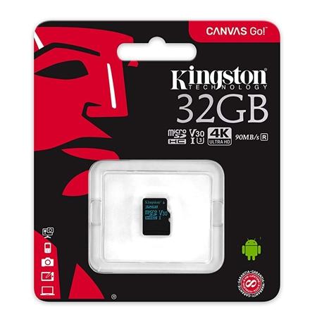 Kingston MicroSD Canvas Go Memory Card 32GB Class10 UHS-I U3
