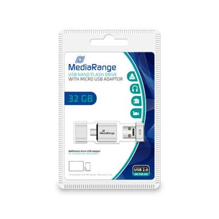 MediaRange USB nano flash drive with micro USB (OTG) adaptor, 32GB MR932