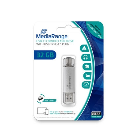 MediaRange USB 3.1 combo flash drive, with USB Type-C™ plug, 32GB MR936