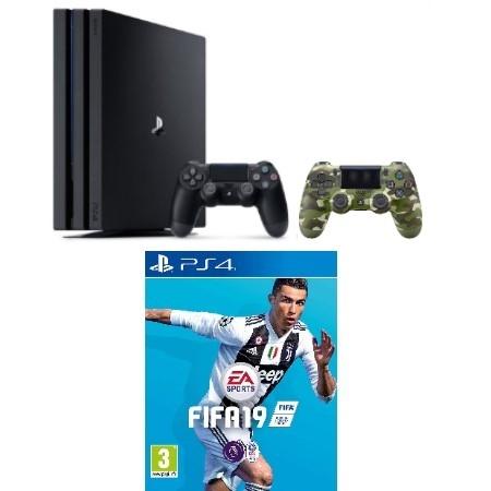 Konzola Playstation 4 PRO 1TB + Dualshock 4 kontroler V2 Camo + Fifa 19